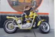 motocicleta chopper amarilla en renta